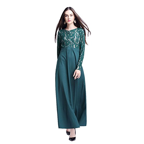 Haodasi Muslim Damen Islamic Middle East Spitze Lange Ärmel Maxi Kleid Kaftan Abaya Kleid Party Malaysia Arab Robes Green