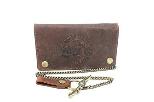 Frédéric & Johns ® geldbeutel mit kette echt leder Clutch - Biker Wallet - ID Kartenhalter und Papier - Kettenbügel für Jeans - (Braun) -