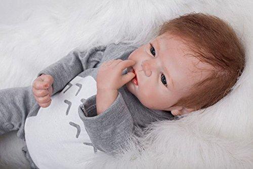 OUBL 22pulgadas 55 cm Real Silicona Vinilo Muñecas Reborn Bebe Baby Doll Boy Ojos Abiertos Magnetismo Juguetes Regalos Recien Nacidos