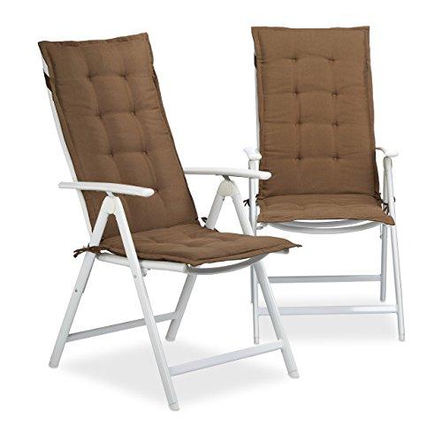 Relaxdays Stuhlauflage Hochlehner, Gartenstuhlauflage 2er Set, Gartenauflagen weich, HBT: 120 x 47 x...