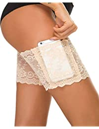 eb2b8a009a643 UMIPUBO Elastic Lace Thigh Bands, Prevent Rubbing and Chafing with Anti  Slip Silicone and Cellphone