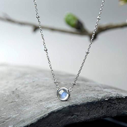 Moonstone Natürliche Mondstein Anhänger Weibliche Halskette S925 Silber Japanischen und Koreanischen Kleine Frische Einfache Schlüsselbein Kette Schmuck Silber Anhänger, Foto Farbe, 925er Silber