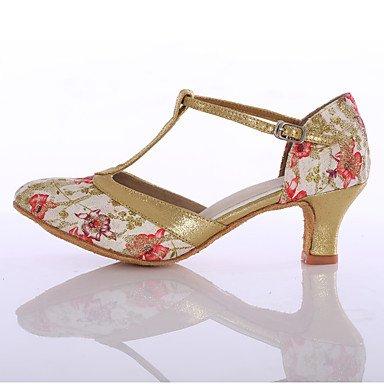 Silence @ Chaussures de danse pour femme en tissu piste de danse latine talons Talon Intérieur Bleu/rouge Red
