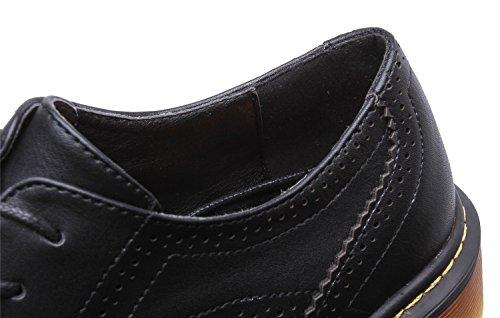 Smilun Chaussures Femme Derby Brogues Richelieu Western Plat Bout Rond Noir