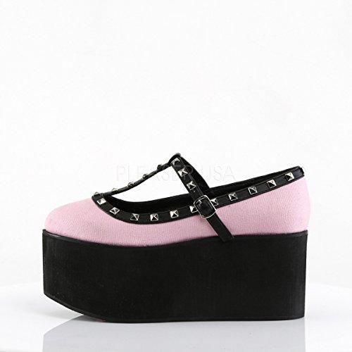 Click-07 Schoen met T-bandje met studs en plateau roze/zwart - Gothic Glamrock Emo