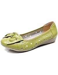 Bridfa Zapatos de cuero genuino de las mujeres holgazanes sólidos mujeres pisos ballet primavera verano zapatos