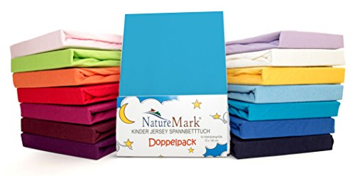 2er para niños de sábana bajera ajustable de punto Pack de ahorro 100% de algodón para niños juego de ropa de cama de colchón de certificación Oeko Tex aprobado en muchos coloures, tela, Türkis / Ocean, 70 x 140 cm
