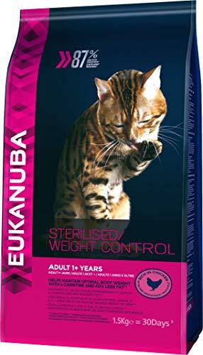 Eukanuba Katze Sterilised Weight Control, fettarmes Premium Trockenfutter für sterilisierte Katzen 1,5Kg