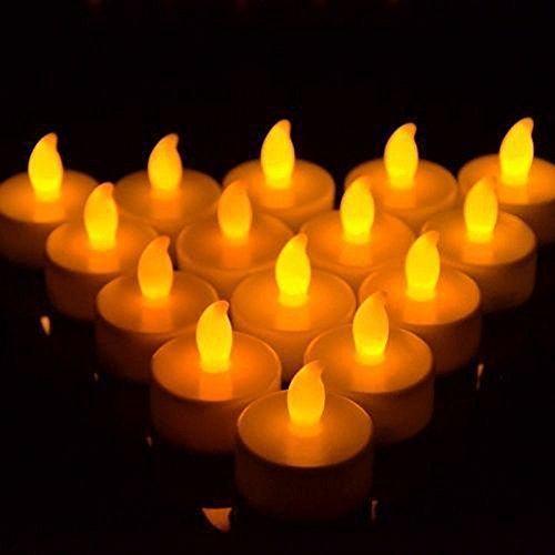 Yunchenghe Lameless LED Vela parpadeante luz de la batería del té Cumpleaños Navidad Fiesta de Navidad luz, sin flama LED Tea Lights, ámbar bombilla amarilla, efecto realista y brillante para la fiesta, luz de la boda