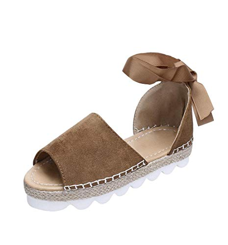 HupoopFrauen Mode Solid Flock Peep Toe Cross Tied Bottom Sandalen Flatform Schuh(Khaki,38) Flirty Peep-toe