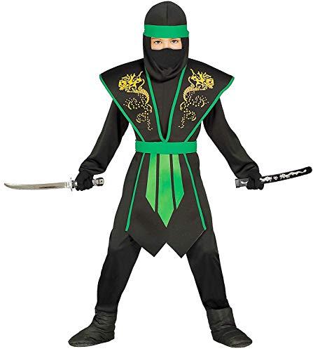 Guirca Ninja Kostüm Kinder grün-schwarz mit schicker Rüstung Halloween Karneval - Ninja Kostüme für Kinder Jungen (110/116)