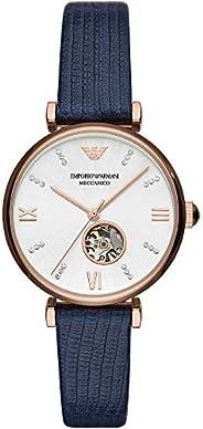 Emporio Armani Women's Silver Dial Leather Analog Watch - AR6
