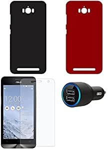 NIROSHA Tempered Glass Screen Guard Cover Case Car Charger for ASUS Zenfone Max - Combo