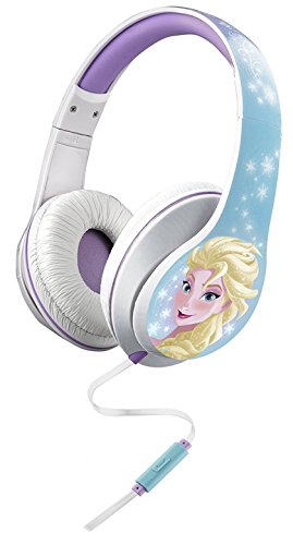 Frozen Bügelkopfhörer mit integriertem Mikrofon und Lautstärkeregler. Anna & Elsa Design.