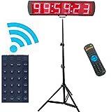 Ganxin App-Control 5 Zoll 6-Ziffern LED Lauf-Uhr Timer mit Stativ für Dauerlauf, Herunter-/Heraufzählen, Digital-Timer, 12/24-Stunden Echtzeituhr, Stoppuhr mit Fernbedienung