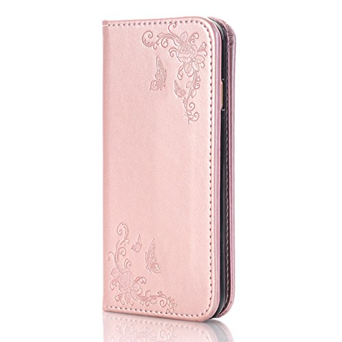 """iPhone 7 Plus Wallet Case, iPhone 7s Plus 5.5"""" Case,Heyqie(TM) Embossing Butterfly Flower PU Leather Flip Folio Wallet Case with Card Holder for Apple iPhone 7 plus / 7s Plus 5.5"""" - Black Rose Gold"""