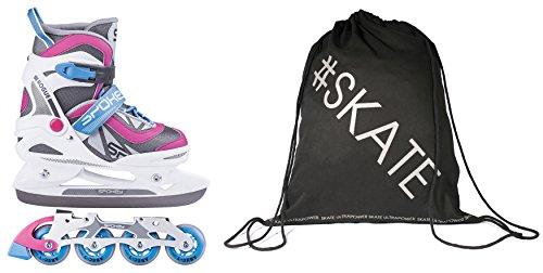 SET - SPOKEY ROGUE Inline Skates / Schlittschuhe mit austauschbarer Schiene + ULTRAPOWER Beutelrucksack | Kinder | Damen | Herren | Inliner | Blades | Rollen | Kufe...