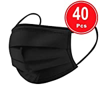 BeAcient Dust Mask,40PC Disposable Half Face Cover Industrial 3Ply Ear Loop Mouth Mask For Outdoor Activities, Shopping, Traveling, Cycling (Black)