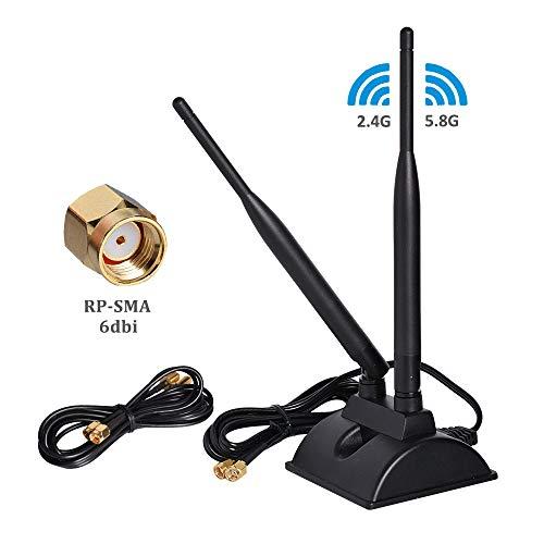 6dBi WLAN-Antenne mit RP-SMA-Stecker, 2,4 GHz 5 GHz Dual-Band-Antenne mit magnetischer Basis für PCI-E WiFi-Netzwerkkarte, WiFi-Router, mobiler Hotspot Outdoor-dual-band-antenne