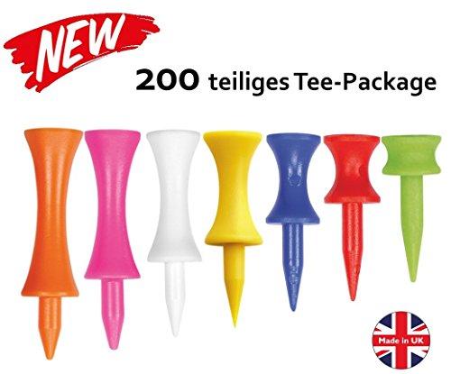 Golfas 200 Premium Step-Tees in 7 verschiedenen Längen - Stufentees/Castle-Tees/Doppelstock-Tees - Made in UK
