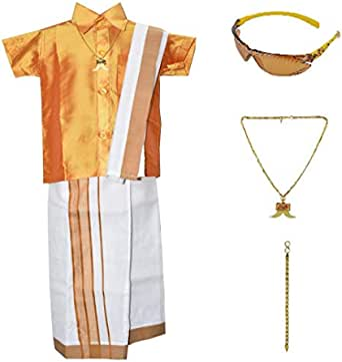 AMIRTHA Fashion Boys Traditional COTTON Dhoti & Shirts SET SAME TO SAME WITH ACCESSORIES (AMFCMSSG - $P)