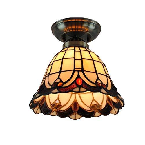 Victoria Tiffany Style Deckenleuchte, Semi Flush Mount Anhänger hängende Leuchte 8 Zoll Glasmalerei Schatten Eisen Deckenleuchte für Restaurant Bar Gang Treppenlicht