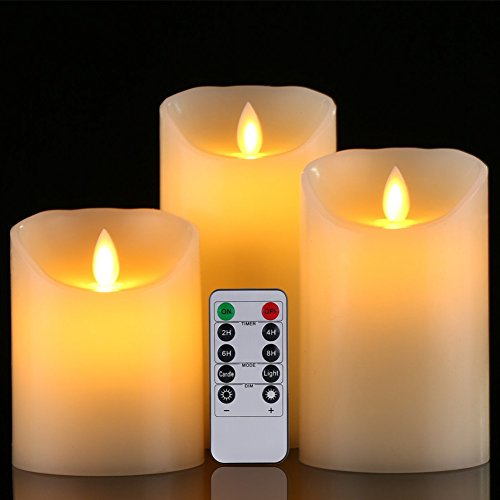 GBATERI 3 Pack LED Flammenlose Kerze Dripless Echt Flammen Effekt LED Echtwachskerzen Batteriebetrieben Realistische Tanzen Elektrische Kerzen Einschließen 10 Key Fernbedienung und Timer Für Geschenke und Dekoration verwenden-Elfenbeinfarbe