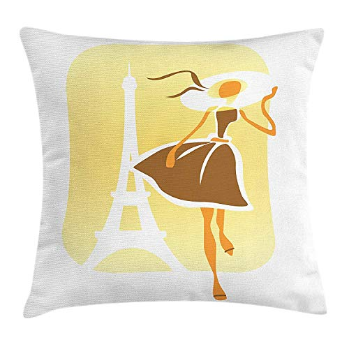 CHSUNHEY Kopfkissenbezüge,Fashion Romantic European Girl Wearing Wide Vintage Hat and Dress in Front of Eiffel Tower,Home Decorative Square for Sofa Throw Pillow Case 18