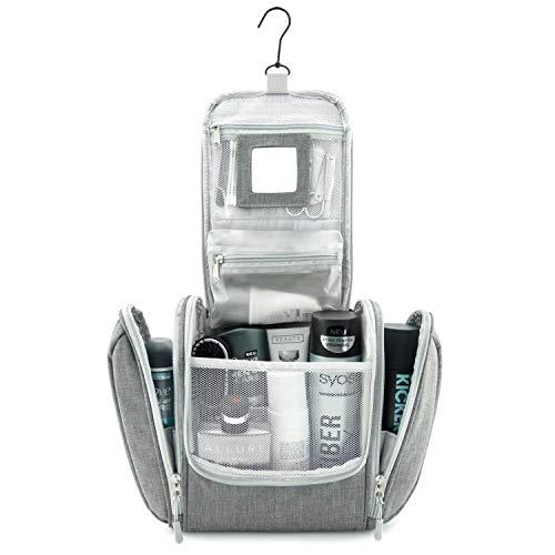 GO!elements borsa da toilette per appendere uomini e donne | borsa cosmetica grande uomo donna per valigie e bagagli a mano | borsa da viaggio wash bag, Color:Grigio
