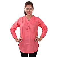 Women's Butta Cotton Self Design V Neck Orange-Red Casual Party Wear 3/4th Sleeve Short Kurti Top