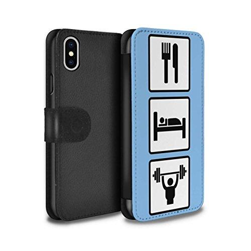 Stuff4 Coque/Etui/Housse Cuir PU Case/Cover pour Apple iPhone X/10 / Pack 10pcs Design / Manger/Sommeil Collection Soulever/Gymnase/Bleu