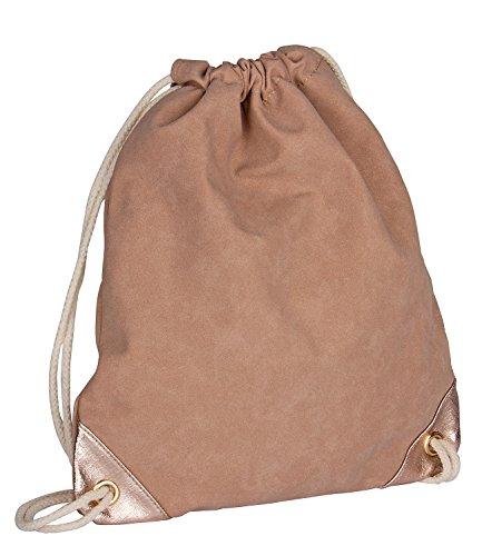 SIX - Damen Handtasche, Turnbeutel, Rucksack, nude rosa, Velour Leder, Kordel Henkeln, rosé goldene Ecken (463-251) (Kollektionen Leder Aus Handtaschen)