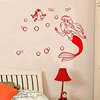 Room Decor Stickers Wall Words Sayings Removable Lettering Cartoon for Kids Rooms Mermaid Creative, Home