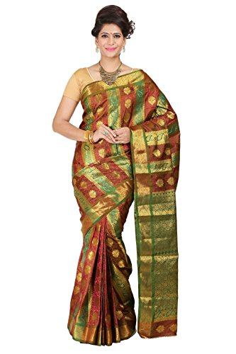 Mimosa Women Kanchipuram Art Multi-Embose Silk Saree With Tissue Blouse (Multi-Coloured ,3179-07-GRRD-OLIVE)