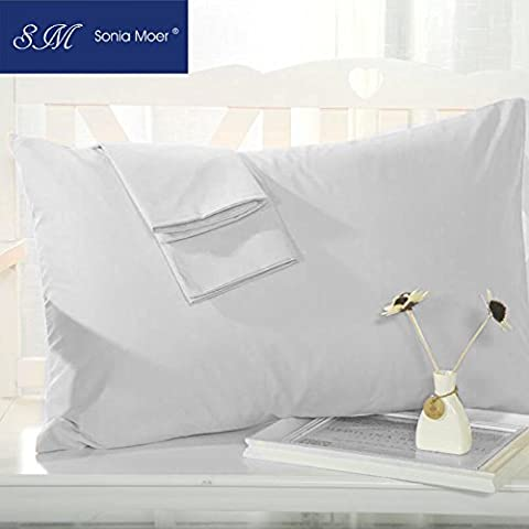 Set of 2 Premium 50% Cotton 50% Polyester 200 Thread Count Pillow Cases by Sonia Moer, (White)