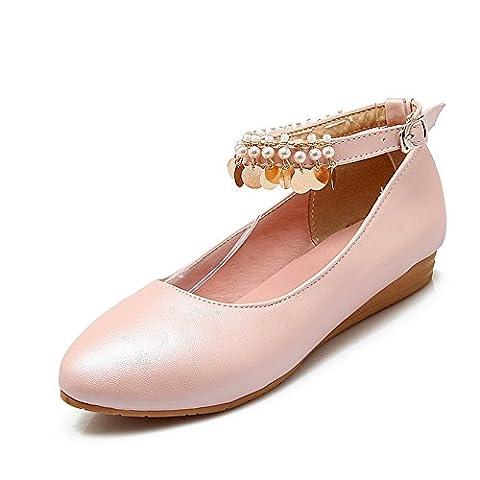 BalaMasa Ladies Metal Buckles Beaded Solid Pink Urethane Flats-Shoes - 2 UK