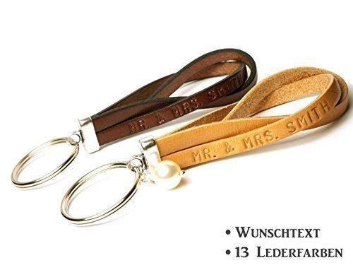 Partner Schlüsselanhänger Leder Art. 207 personalisiert mit Wunschtext (Partner Kurze Leder)