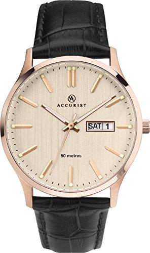 Accurist pour homme analogique montre à quartz avec or rose Cadran et bracelet cuir noir 7235