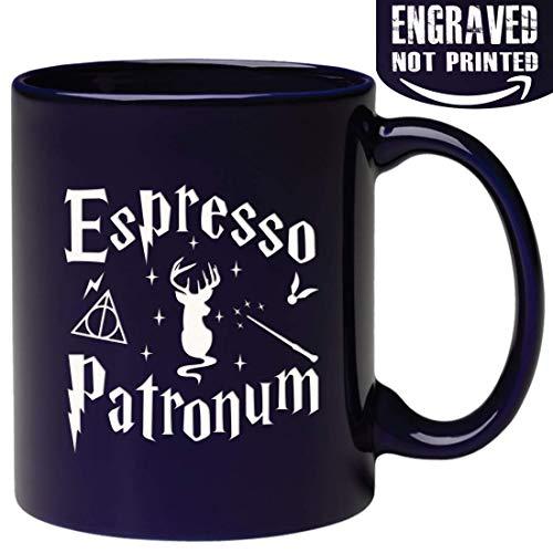 Kaffeetasse mit Gravur auf beiden Seiten Espresso Patronum Zitat aus Keramik