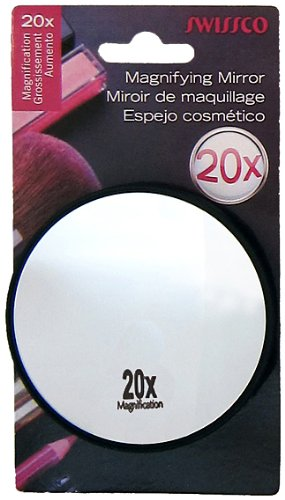Swissco suction cup mirror. 20x magnification, 3 1/2'' diameter Colors May Vary by Swissco -