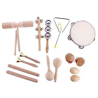 Sharplace 10pcs Mini Musikinstrument für Kinder Baby, inkl. Hand Tamburin, Sand Hammer, Kastanisch,Sand Ei, Rassel, Becken,Rhythmus-Dreieck,Rhythmusstöcke, Tinkle Bell, Sound Guiro