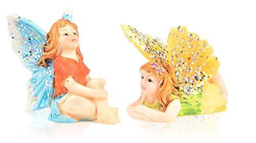Miniatur-Feengarten, 2 Stück, kleine sitzende Blaue Fee und Fliegende liegende, gelbe Fee, aus Harz, Bunte Pixie-Outfits & glitzernde Flügel, für den Außenbereich oder als Hausdeko, 2 Stück