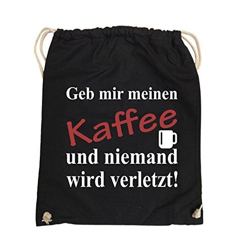 Comedy Bags - Geb mir meinen Kaffee und niemand wird verletzt! - Turnbeutel - 37x46cm - Farbe: Schwarz / Weiss-Neongrün Schwarz / Weiss-Rot