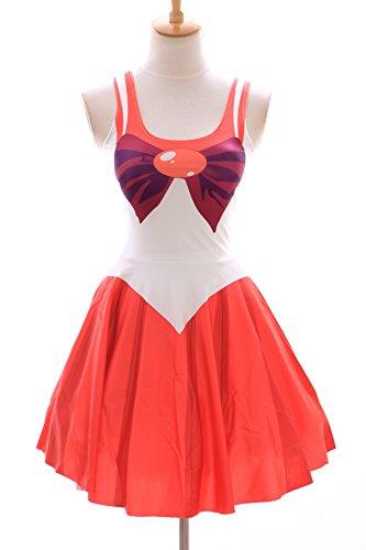 SK-04 Gr. S-M Sailor Moon Mars rot red Kleid dress Cosplay Manga Japan Anime (Sailor Mars Kostüm)
