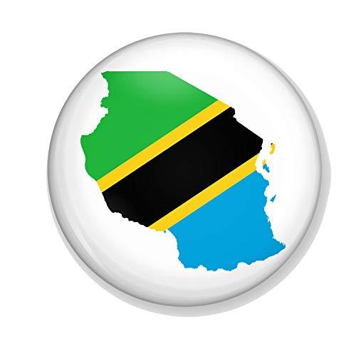Gifts & Gadgets Co. Kühlschrankmagnet, Motiv: Tansanische Flagge auf der Karte von Tansania, klein, Bedruckt, rund, 38 mm