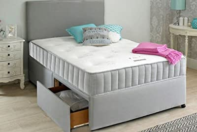 Grey Divan Bed Set with Memory Mattress, Headboard and 2 Drawers Same Side option - Single to King size Grey Divan Bed - Sleepkings