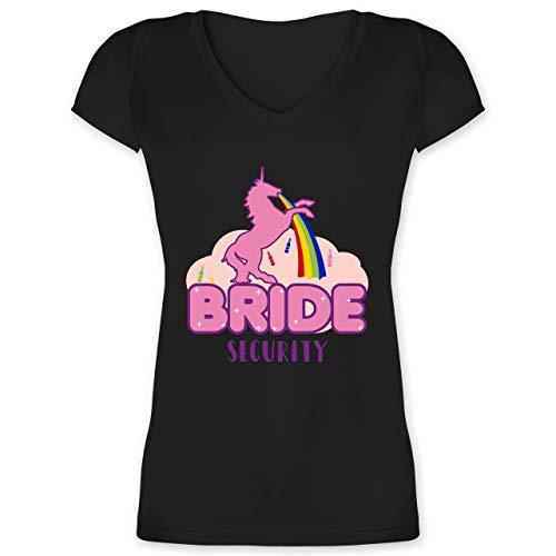 Kostüm Nerdige - JGA Junggesellinnenabschied - JGA Bride Security Einhorn - XL - Schwarz - XO1525 - Damen T-Shirt mit V-Ausschnitt