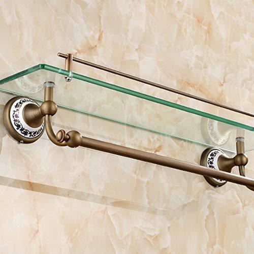 Badezimmer Regal Badschrank Mit Handtuchhalter, Duschwanne, Wandhalterung, Antikmessing, Bronze-Finish -