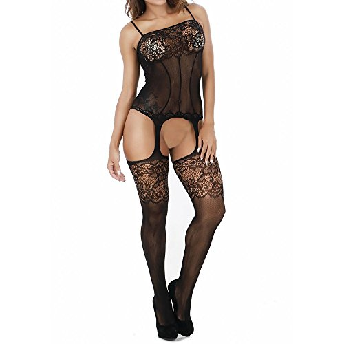 Xianglu-Womens-Sexy-Lingerie-Open-Crotch-Lace-Hollow-Strap-Stocking-Suspender-Bodysuit-Nightwear