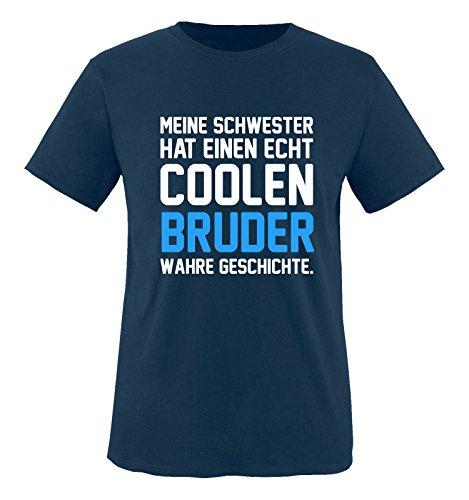 Comedy Shirts - Meine Schwester hat einen echt coolen Bruder wahre Geschichte. - Jungen T-Shirt - Navy/Weiss-Blau Gr. 152/164